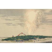 Kobayashi Kiyochika: Fireworks over the Water at Nakazu on the Sumida River - University of Wisconsin-Madison