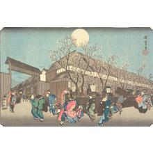 歌川広重: Cherry Trees at Night at Nakanocho in the Yoshiwara, from the series Famous Places in the Eastern Capital - ウィスコンシン大学マディソン校