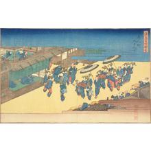 歌川広重: The Street with Nine Houses in the Shimmachi District, from the series Pictures of Famous Places in Osaka - ウィスコンシン大学マディソン校