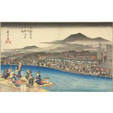 Utagawa Hiroshige: Enjoying the Evening Cool along the Shijo Riverbed, from the series Famous Places in Kyoto - University of Wisconsin-Madison
