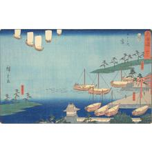Utagawa Hiroshige: The Seven Ri Ferry, the Entrance to the Atsuta Shrine, and Nezame Village near Miya, no. 42 from the series Fifty-three Stations of the Tokaido (Marusei or Reisho Tokaido) - University of Wisconsin-Madison
