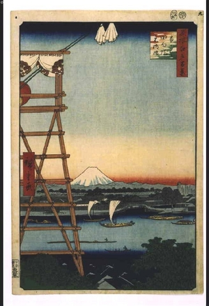 Utagawa Hiroshige: One Hundred Famous Views of Edo: Eko-in Temple in Ryogoku and Motoyanagibashi Bridge - Edo Tokyo Museum