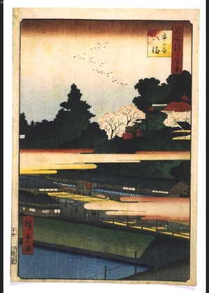 二歌川広重: One Hundred Famous Views of Edo: Hachiman Shrine, Ichigaya - 江戸東京博物館