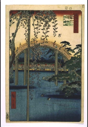 歌川広重: One Hundred Famous Views of Edo: Precincts of Kameido Tenjin Shrine - 江戸東京博物館