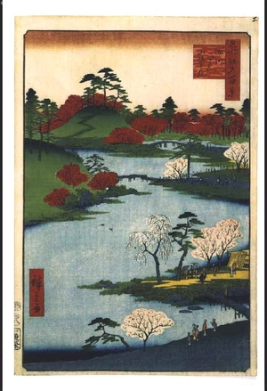 Utagawa Hiroshige: One Hundred Famous Views of Edo: Public Viewing of Hachiman Shrine, Fukagawa - Edo Tokyo Museum