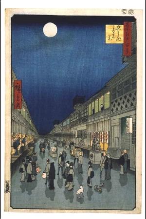 歌川広重: One Hundred Famous Views of Edo: Night View of Saruwakacho Theatre Street - 江戸東京博物館