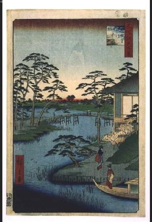 歌川広重: One Hundred Famous Views of Edo: Shogun's Kitchen Garden Beside the Inlet Near Mokubo-ji Temple - 江戸東京博物館