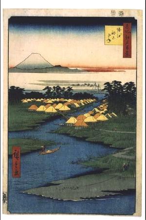 歌川広重: One Hundred Famous Views of Edo: Fishing Village of Nekozane at Horie - 江戸東京博物館