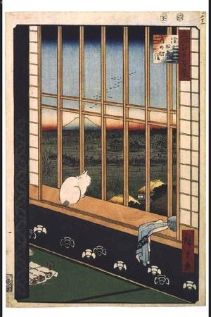 歌川広重: One Hundred Famous Views of Edo: Procession for the Tori-no-ichi Festival, Asakusa-tanbo - 江戸東京博物館