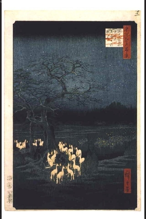 Utagawa Hiroshige: One Hundred Famous Views of Edo: Foxfires Gathered by the Hackleberry Tree near Oji Inari Shrine on New Year's Eve - Edo Tokyo Museum