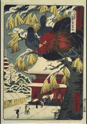 Ikkei: Forty-Eight Famous Views of Tokyo: Asakusa Kanzeon Temple in the Snow - Edo Tokyo Museum