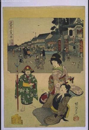 HASHIMOTO Chikanobu / Nobuyasu: Parody of the Twelve Animals of the Chinese Zodiac: The Tiger, Bishamon Temple, Kagurazaka - 江戸東京博物館
