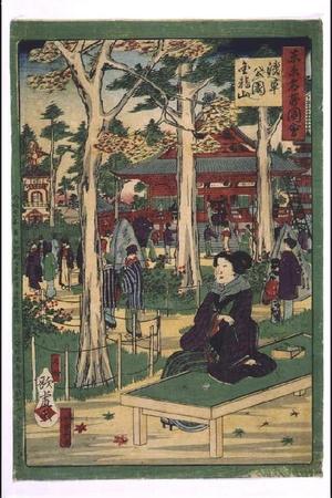 歌川国利: Collected Illustrations of Famous Places in Tokyo: Asakusa Park and Kinryuzan Temple - 江戸東京博物館