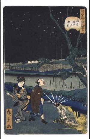 Utagawa Hirokage: Parody of the Famous Places of Edo, No. 28: A Night View of Tahara, Asakusa Canal. - Edo Tokyo Museum