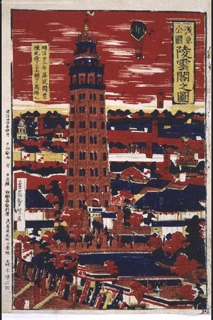 NAGASHIMA Shungyo: Picture of Asakusa Park and Ryounkaku Building - 江戸東京博物館