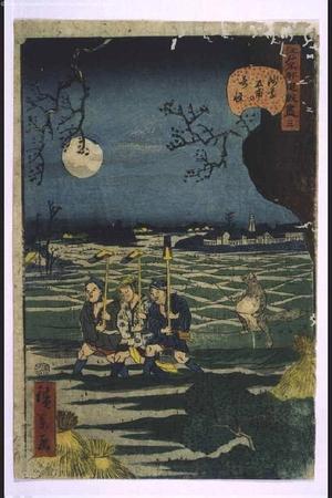 Utagawa Hirokage: Amusing Views of Famous Sites of Edo: Strange Events in Asakusa-tanbo - Edo Tokyo Museum