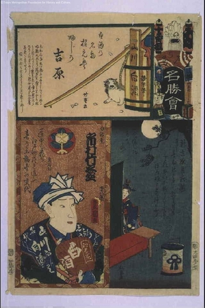 Utagawa Kunisada: The Flowers of Edo with Pictures of Famous Sights: 'Nu' Brigade, Tenth Squad - Edo Tokyo Museum
