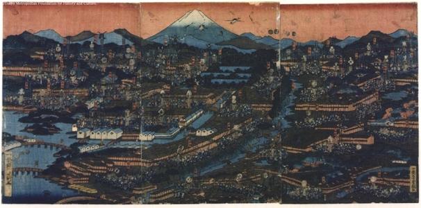 UTAGAWA Yoshitsuna: Picture of the City of Edo Showing Position of Various Fire Brigades - 江戸東京博物館