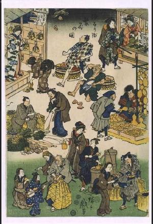 歌川広重: Prosperous Joruri District (Street Vendors and Customers in a Busy Market) - 江戸東京博物館