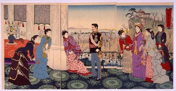 小林清親: The Emperor and Plum Garden in Spring - 江戸東京博物館