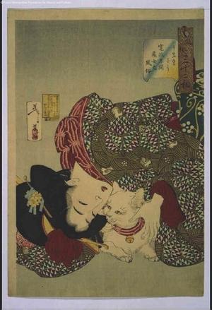 月岡芳年: Thirty-Two Daily Scenes: 'Looks Annoying', Mannerisms of a Girl from the Kansei Period - 江戸東京博物館