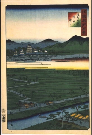 二歌川広重: One Hundred Views of Famous Places in the Provinces: Ichikawa Ferry, Himeji, Banshu - 江戸東京博物館