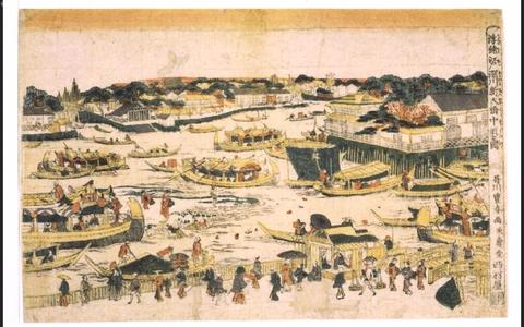 歌川豊春: Uki-e (Perspective Picture) of The Sandbar by Fukagawa Shin-Ohashi Bridge, Edo - 江戸東京博物館