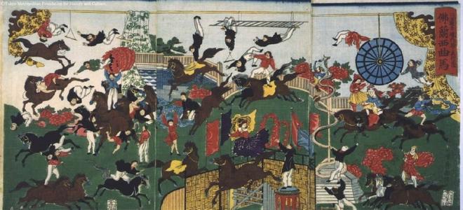 Utagawa Kuniteru: French Circus in the Precincts of the Asakusa Kannon Temple - Edo Tokyo Museum