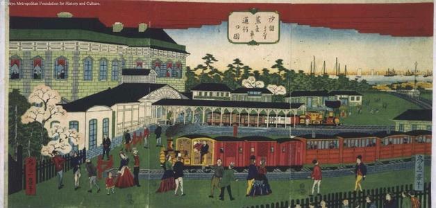 Ikkei: Steam Train Passing Shiodome - Edo Tokyo Museum