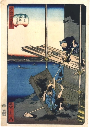 Utagawa Hirokage: Clowning Around at Famous Views of Edo, 41: The Ommaya Embankment at Asakusa - Edo Tokyo Museum