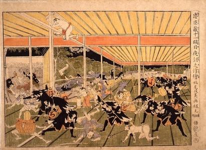 北尾政美: Perspective print: Chushingura, Act 11, the Night Attack - 江戸東京博物館