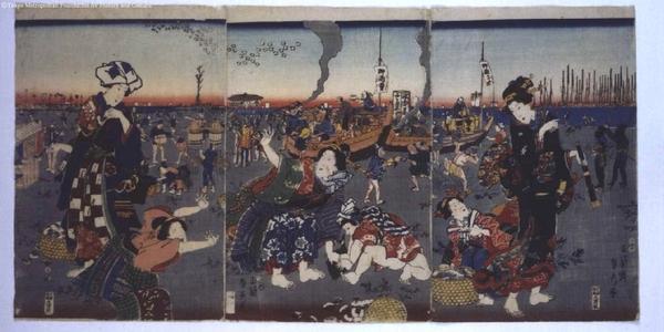 歌川貞秀: Shellfish Gathering at Low Tide - 江戸東京博物館