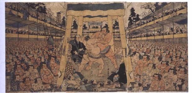 渓斉英泉: Sumo Wrestling - 江戸東京博物館