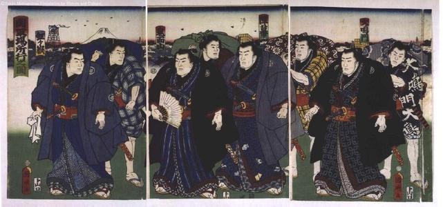 Utagawa Kuniaki: Sekitori-rank Sumo Wrestlers on Their Way to a Tournament - Edo Tokyo Museum