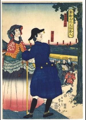 歌川貞秀: Famous Sights and Strangers in the Eastern Capital: French Persons at the Kanda Myojin Shrine - 江戸東京博物館