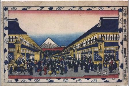 沢雪嶠: Perspective print: View of Mt. Fuji from Suruga-cho - 江戸東京博物館