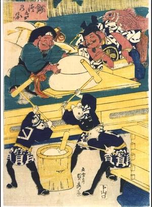Utagawa Sadahide: Pounding Glutinous Rice - Edo Tokyo Museum