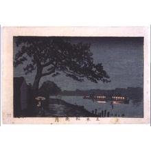 Inoue Yasuji: True Pictures of Famous Places in Tokyo: Gohonmatsu Pine by Moonlight in the Rain - Edo Tokyo Museum