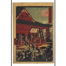 Utagawa Hiroshige III: From the Famous Places in Modern Tokyo Series: The Crowds at Kinryuzan Temple, Senso-ji Temple on Yonman Rokusen Day (July 9-10, when one visit is considered equivalent to 46,000) - Edo Tokyo Museum