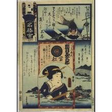 Utagawa Kunisada: The Flowers of Edo with Pictures of Famous Sights: 'Wa' Brigade, Eighth Squad - Edo Tokyo Museum