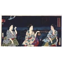Toyohara Kunichika: Enjoying a Large Fireworks Display in the Cool of Evening at Ryogoku - Edo Tokyo Museum