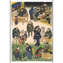 Utagawa Hiroshige: Prosperous Joruri District (Street Vendors and Customers in a Busy Market) - Edo Tokyo Museum