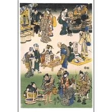 Utagawa Hiroshige: Prosperous Joruri District (Street Vendors and Customers in a Busy Market) - Edo Tokyo Museum