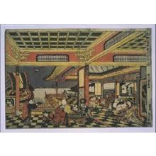 歌川豊春: Ukie-e (Perspective Picture) of the Seven Gods of Good Fortune at Play - 江戸東京博物館