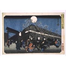 Utagawa Hiroshige: Famous Places in the Eastern Capital (Edo): Nighttime Cherry Blossom in Nakanomachi, Yoshiwara Licensed Quarter - Edo Tokyo Museum