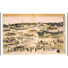 歌川豊春: Uki-e (Perspective Picture) of The Sandbar by Fukagawa Shin-Ohashi Bridge, Edo - 江戸東京博物館