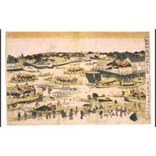 Utagawa Toyoharu: Uki-e (Perspective Picture) of The Sandbar by Fukagawa Shin-Ohashi Bridge, Edo - Edo Tokyo Museum