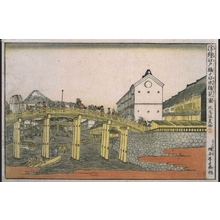 北尾政美: Perspective print: View of the Nihonbashi Bridge from Edobashi - 江戸東京博物館