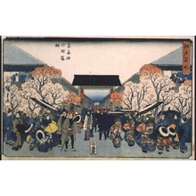 Utagawa Hiroshige: Famous Views of Edo: The Yoshiwara in Cherry Blossom Season - Edo Tokyo Museum