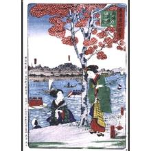 UTAGAWA Utatora: Famous Views of Tokyo: Cherry Blossoms in Full Bloom at Mukojima - Edo Tokyo Museum